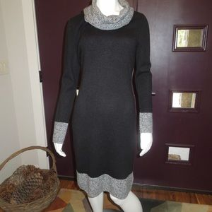 NWT 100% CASHMERE MAGASCHONI BLACK/GRAY DRESS Sz S